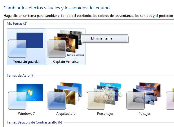 Como eliminar un tema instalado de Windows 7 paso a paso