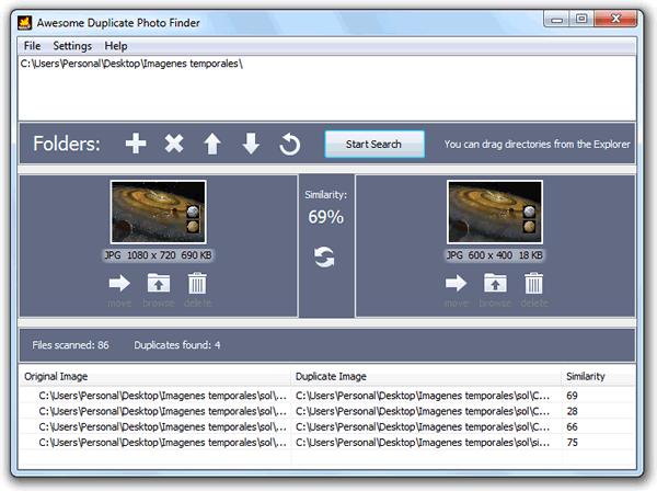 Awesome Duplicate Photo Finder. Encuentra imágenes duplicadas en Windows