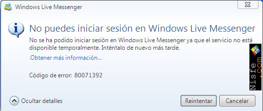Como solucionar el Error 80071392 de Windows Live Messenger