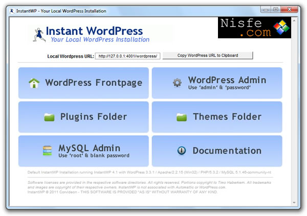 Instant WordPress. Trabajar de forma local en Windows