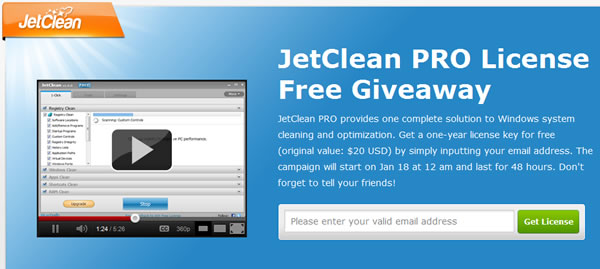 Licencia gratuita de JetClean Pro