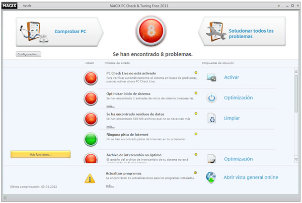 Magic PC Check & Tunning reparar y acelerar Windows