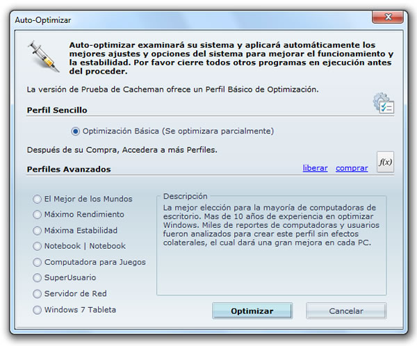 Como optimizar la cache de Windows 7 con Cacheman