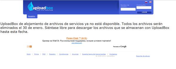UploadBox ya no está disponible y eliminaran todos sus archivos el 30 de enero