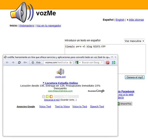 vozMe nos permite convertir texto en audio en formato mp3