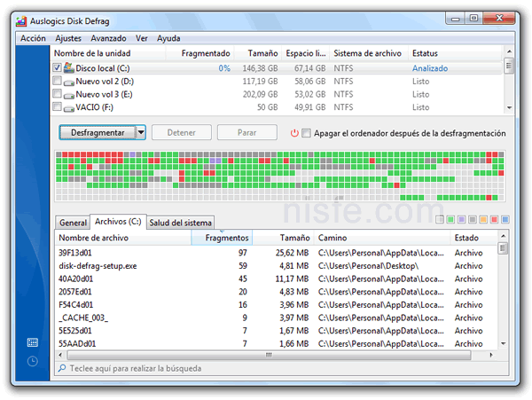 Como desfragmentar el disco duro de Windows con Auslogics Disk Defrag