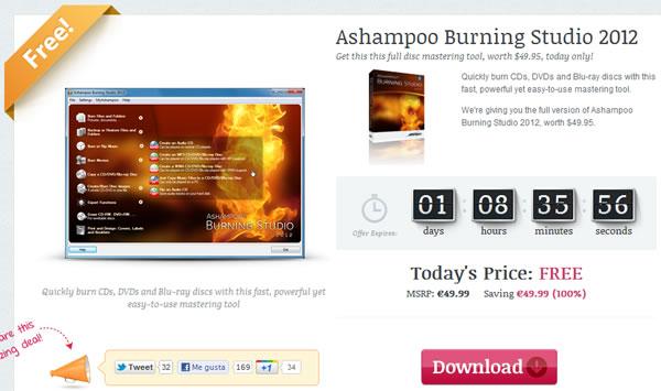Ashampoo Burning Studio 2012 disponible de forma gratuita