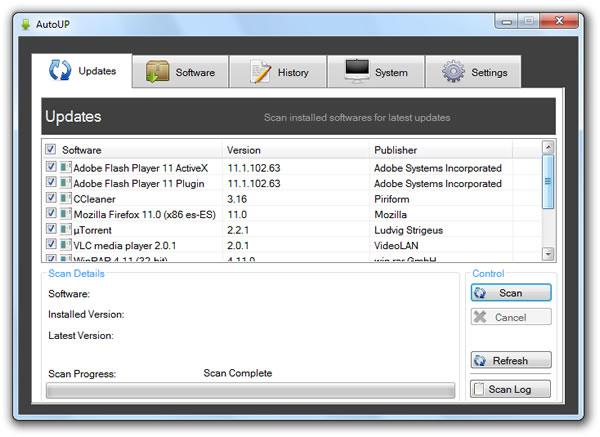AutoUp, buscar actualizaciones de los programas instalados en Windows