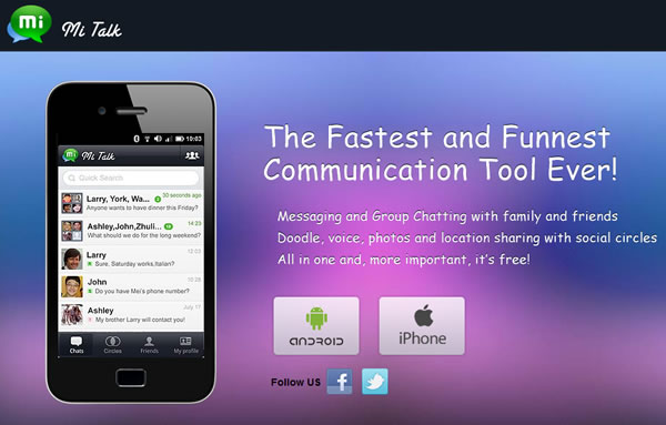MiTalk Messenger, mensajería instantánea para iPhone y Android