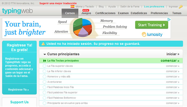 Online Typing Tutor, aprender mecanografía de forma online