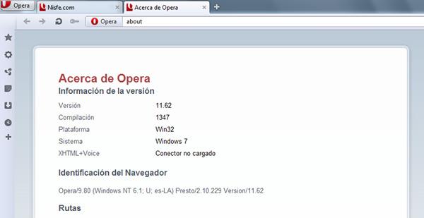 Opera 11.62 disponible la nueva versión de Opera