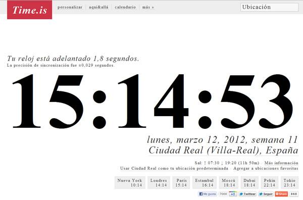 Time.is comprobar si el reloj de nuestro PC tiene la hora correcta