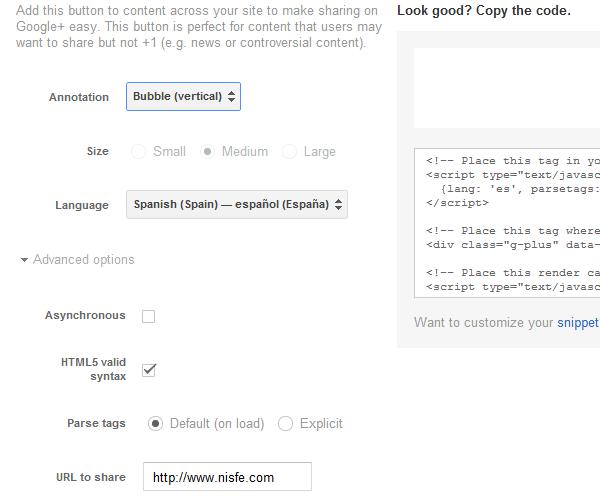 Como agregar el nuevo botón de compartir (share) de Google+