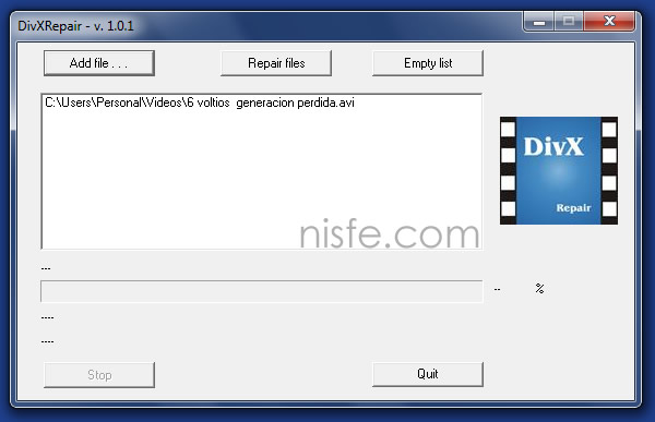 Reparar videos que estén corruptos con DivXRepair