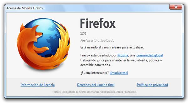 Mozilla Firefox 12 versión final ya se encuentra disponible para su descarga