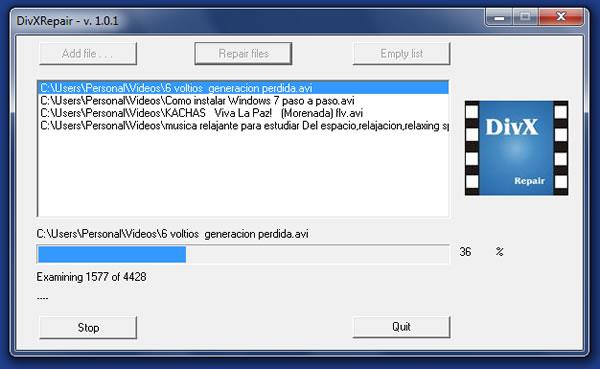 Reparar videos que estén dañados con DivXRepair