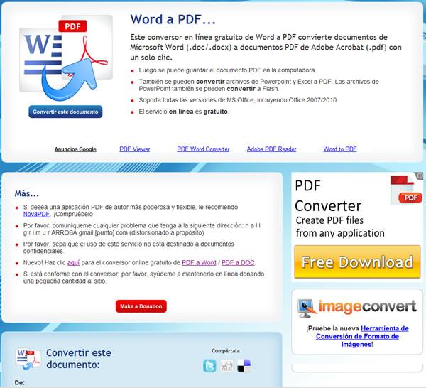 Doc2pdf, herramienta web para convertir documentos de Word a PDF y viceversa
