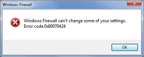 Error 0x80070424 al cambiar la configuración del Firewall de Windows 7