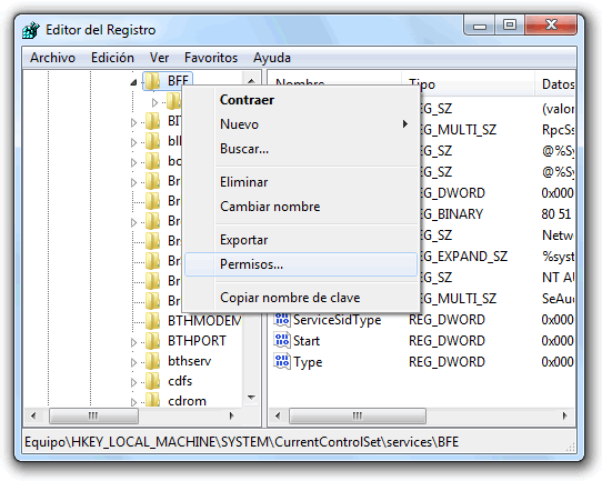 Error 0x80070424 al cambiar la configuración del Firewall de Windows