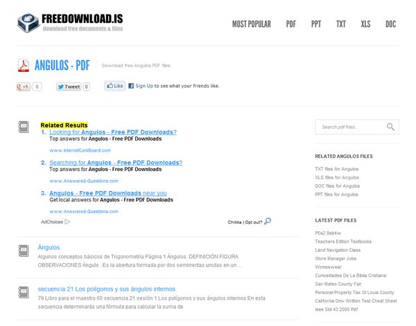 FreeDownloads, buscador de documentos PDF, TXT, DOC, XLS y PPT