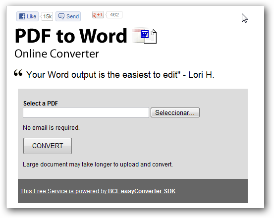 PDF to Word, aplicación web para convertir archivos PDF a documentos Word