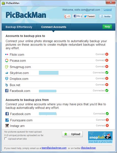 PicBackMan, crea copias de seguridad de tus fotos que tengas en Facebook, Instagram, Foursquare y guardalas en Dropbox, Picasa