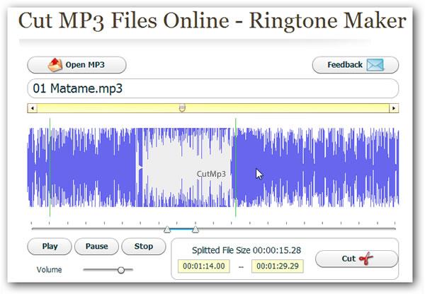 Recortar MP3 en línea y crear tonos para tu móvil con CutMp3