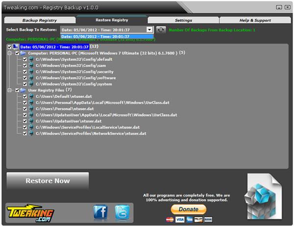 Registry Backup, crear y respaldar una copia de seguridad del registro de Windows