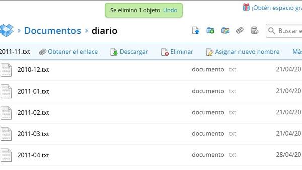 Deshacer errores en Dropbox