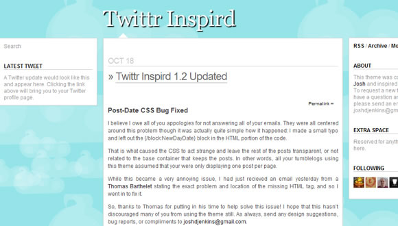 Tema de Tumblr Twittr Inspird