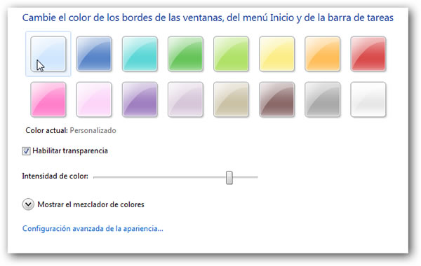 Color barra de tareas Windows 7