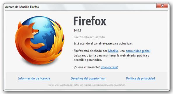 Mozilla Firefox 14 características