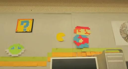 Mario encuentra a PacMan en una animación hecha con 7 mil post-ist