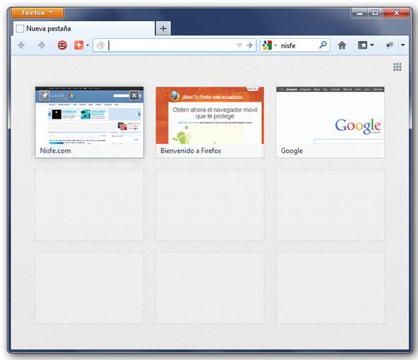 Nueva pestaña de Firefox 14