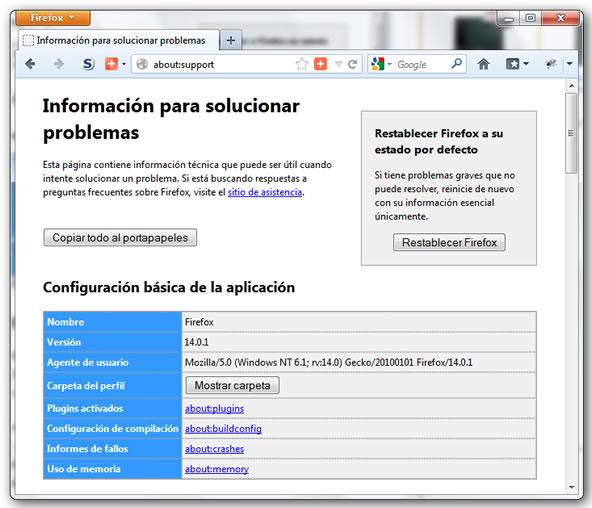 Restaurar el navegador al estado inicial