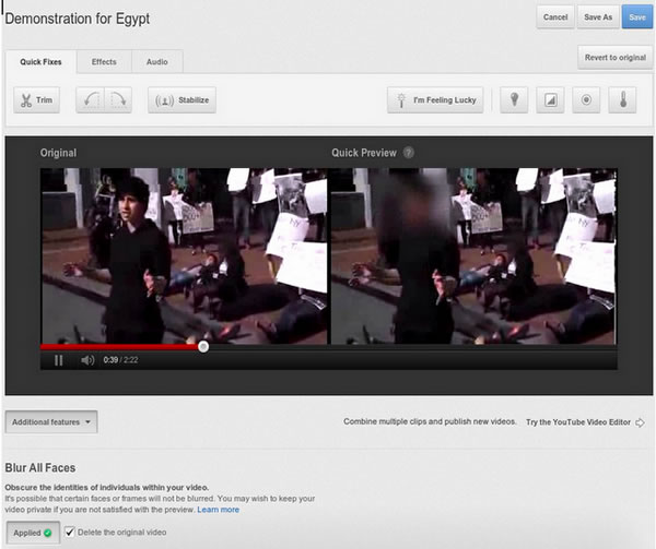YouTube desenfocar rostro