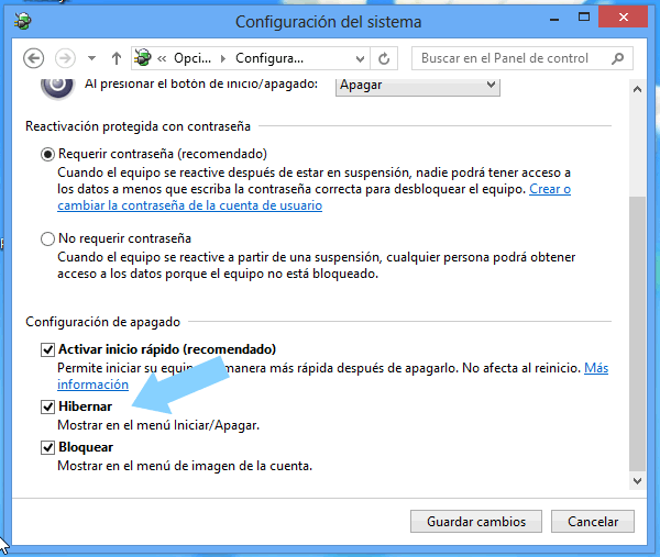Activamos la casilla para Hibernar Windows 8