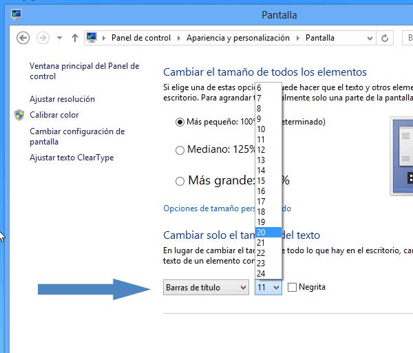 Windows 8: Como cambiar el tamaño del texto de la barra del título en las ventanas