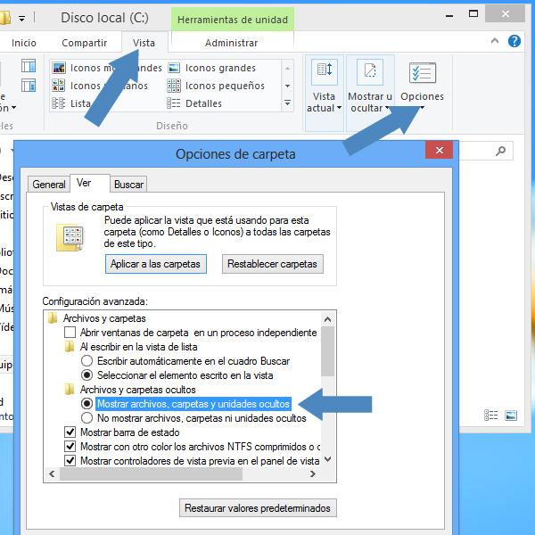 Mostrar y ocultar las carpetas y archivos ocultos en Windows 8