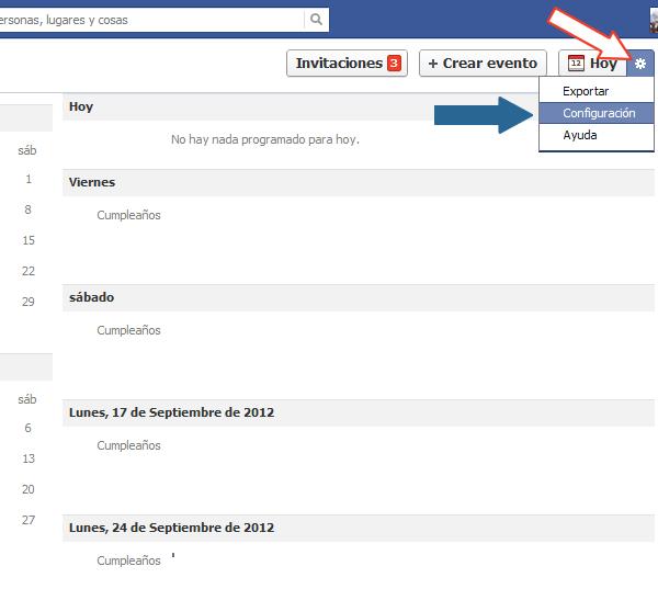 Eventos sugeridos en Facebook
