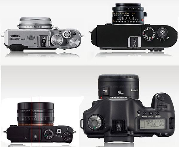 Comparacion Fujifilm X100, Leica M9 y la Canon 5D. La M9 y la 5D son Full Frame