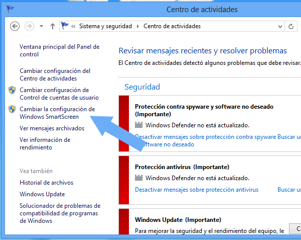 Desactivar Windows SmartScreen Windows 8