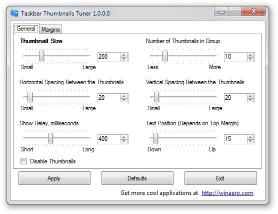 """Taskbar Thumbnails Tuner es una aplicación portable con la que puedes personalizar las imágenes en miniaturas que aparece en Windows cuando el cursor del mouse pasa sobre una ventana activa en la barra de tareas. Con este programa, puedes configurar el tamaño de las miniaturas relacionadas con el programa, el espacio vertical y el horizontal entre las imágenes, el tiempo de retraso en la presentación de figuras (en milisegundos) y la posición del texto (solo es aplicable cuando la barra de tareas se encuentra en la parte superior de la pantalla). Otro cambio que ofrece Taskbar Thumbnails Tuner es la definición del grosor de los bordes aplicados a las miniaturas. Además, puedes desactivar la visualización de las miniaturas. Después de hacer los cambios que desee, simplemente pulsa el botón """"Aplicar"""" para que los cambios tengan efecto. Una vez hecho esto, el explorador de Windows se reiniciara y puede presentar algunas acciones medias extrañas como la desaparición de las ventanas y la barra de tareas.  Todo esto es normal y no debes asustarte, ya que es parte del proceso de modificación de las miniaturas. Unos segundos después, todo vuelve a la normalidad con la nueva configuración de las imágenes en miniaturas de la barra de tareas. Si los cambios no te gustas también puedes volver a la configuración original, para ello Taskbar Thumbnails Tuner cuenta con una opción llamada """"Defaults"""" para recuperar el tamaño original de las miniaturas y dejar Windows como si ningún cambio se haya hecho. Así que si quieres visualizar las imágenes en miniatura cuando el cursor se posa sobre algún programa abierto en la barra de tareas, ya puedes hacerlo con este programa gratuito. Enlace para descargar Taskbar Thumbnails Tuner"""