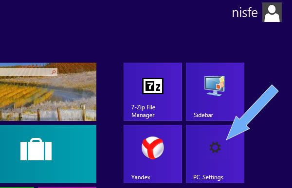 Cambiar configuración de PC Windows 8