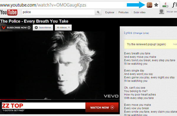Mirar la letra de la canción de los videos de YouTube, Last.FM, Grooveshark con Lyrics for Google Chrome