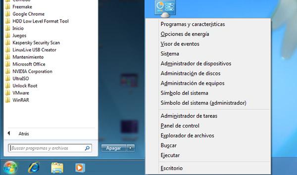 El menú inicio de Windows 8