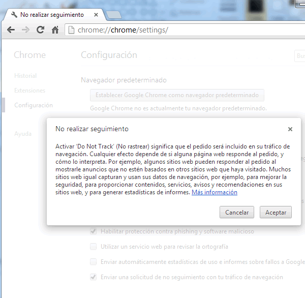 "Como activar el Do Not Track ""DNT"" en Google Chrome en 4 pasos"