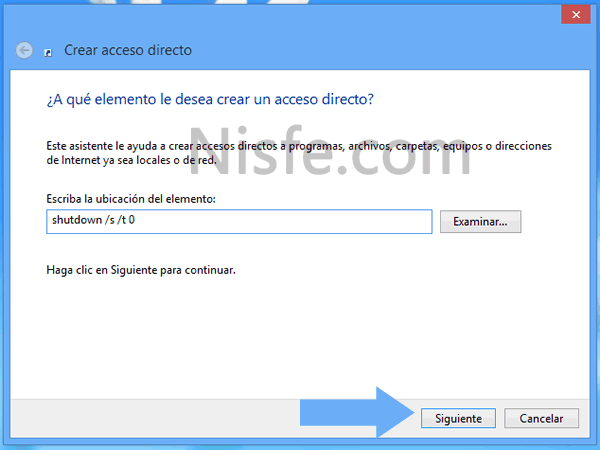 Como crear un atajo para apagar Windows 8 más rápido con un solo clic