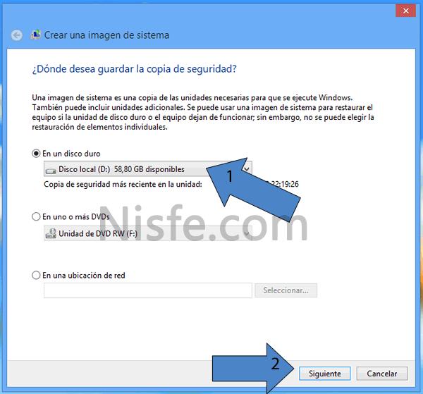 Crear una imagen del sistema en Windows 8