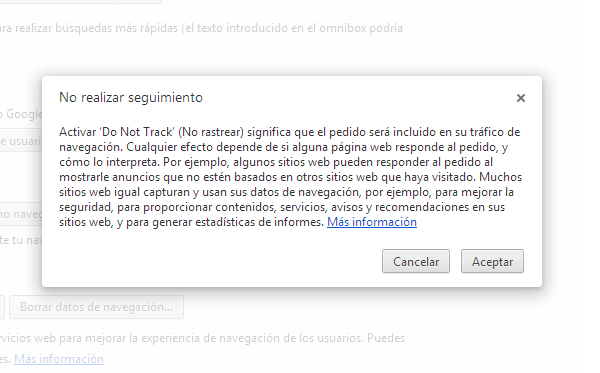 Do Not Track es adoptado por Google Chrome en su versión 23
